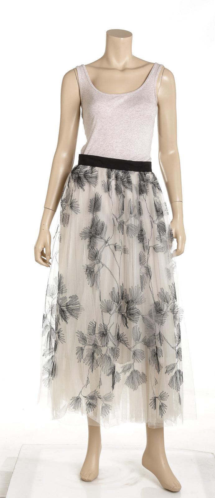 Brunello Cucinelli Black And White Tulle Embroidered Maxi Skirt NEW Size 4
