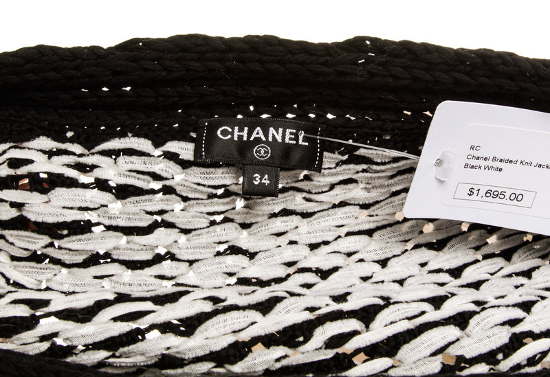 Chanel Black and White Knit Cardigan (Size 34)