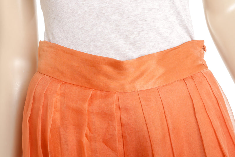 Christian Dior Orange Silk Pleaded Wide Leg Pants Size S