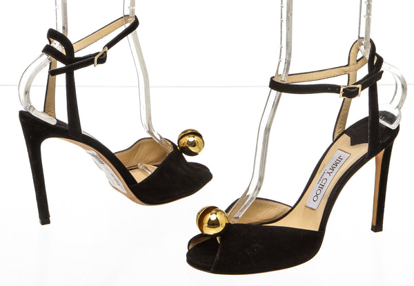 Jimmy Choo Black Suede 'Sacora' 100mm Sandals (Size 36)
