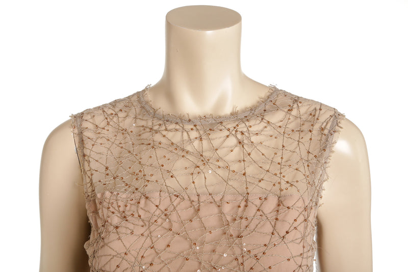 Brunello Cucinelli Natural Tulle Sequined Sleeveless Dress Size S