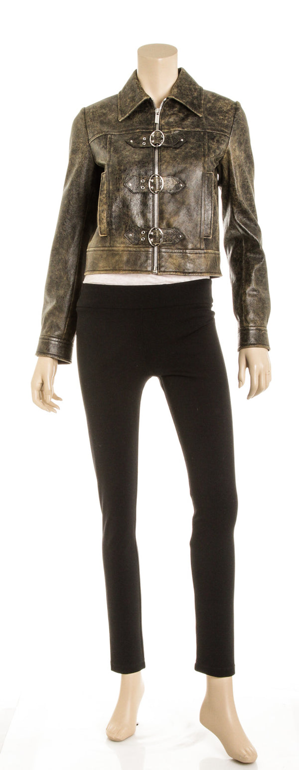 Miu Miu Dark Brown Distressed Leather Moto Jacket (Size 38)