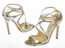 Jimmy Choo Metallic Silver Strappy Sandals (Size 37)