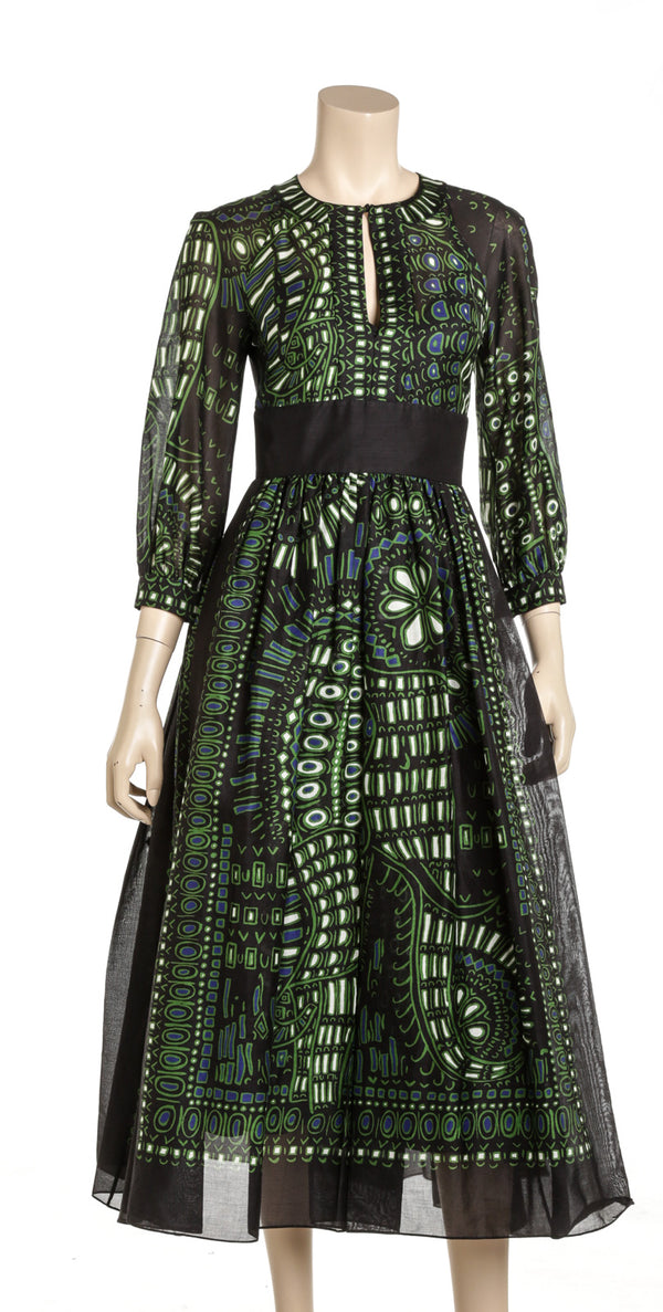 Christian Dior Green And Black Cotton A-line Flared Street Style Long Sleeve Dress Size 2