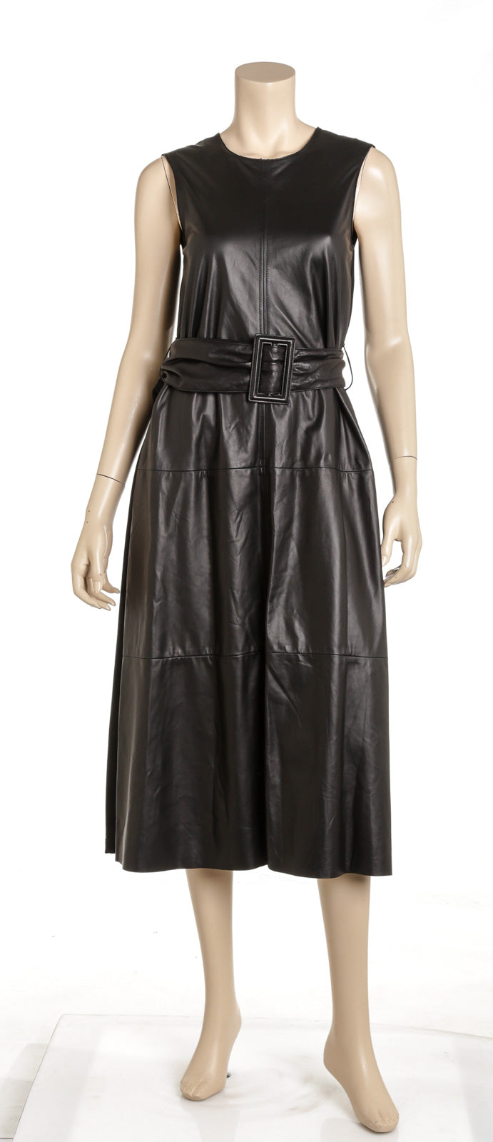 Brunello Cucinelli Black Leather Belted Sleeveless Dress Size S