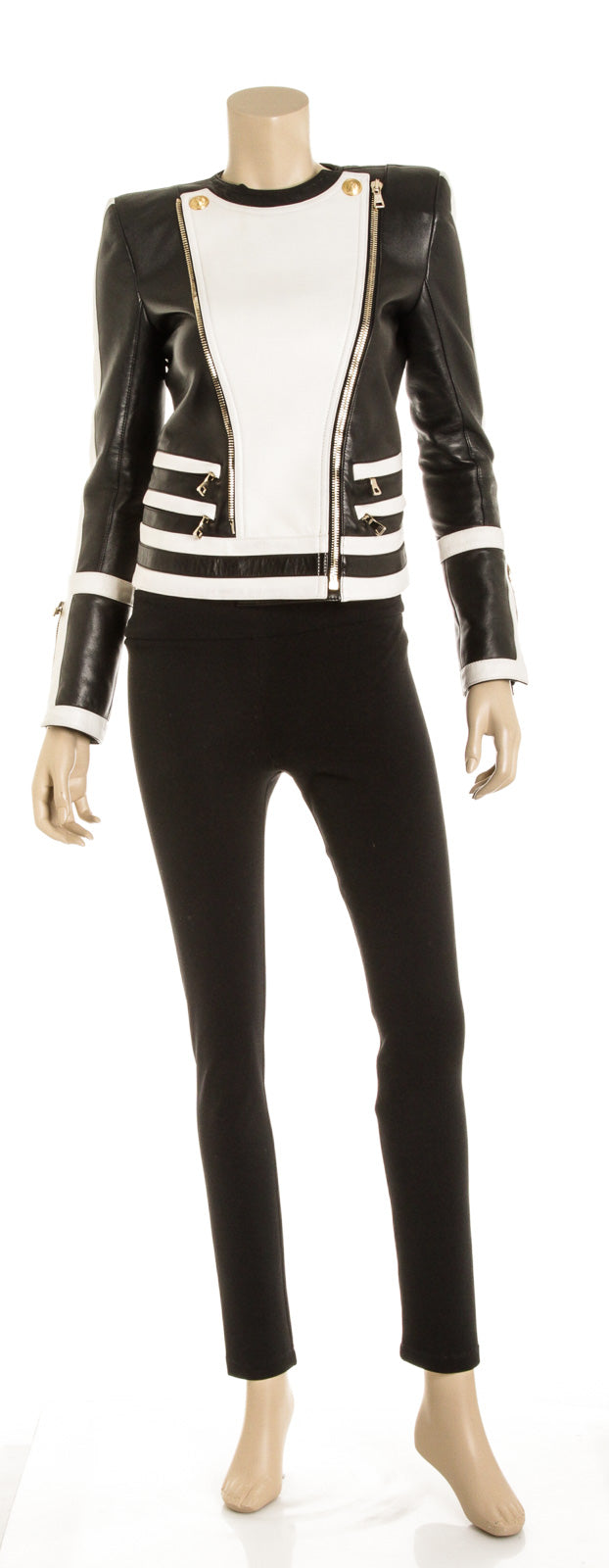Balmain Black and White Leather Moto Jacket (Size 36)