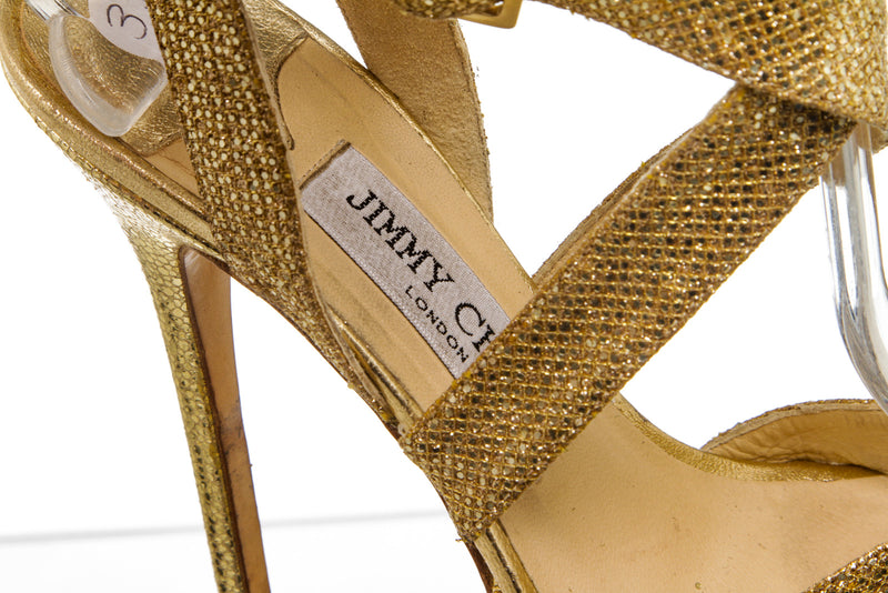Jimmy Choo Metallic Gold Strappy Sandals (Size 37)