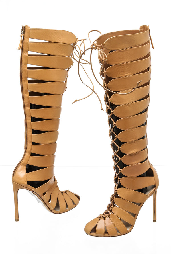 Francesco Russo Closed-Toe Tan Gladiator Knee Boots (36)