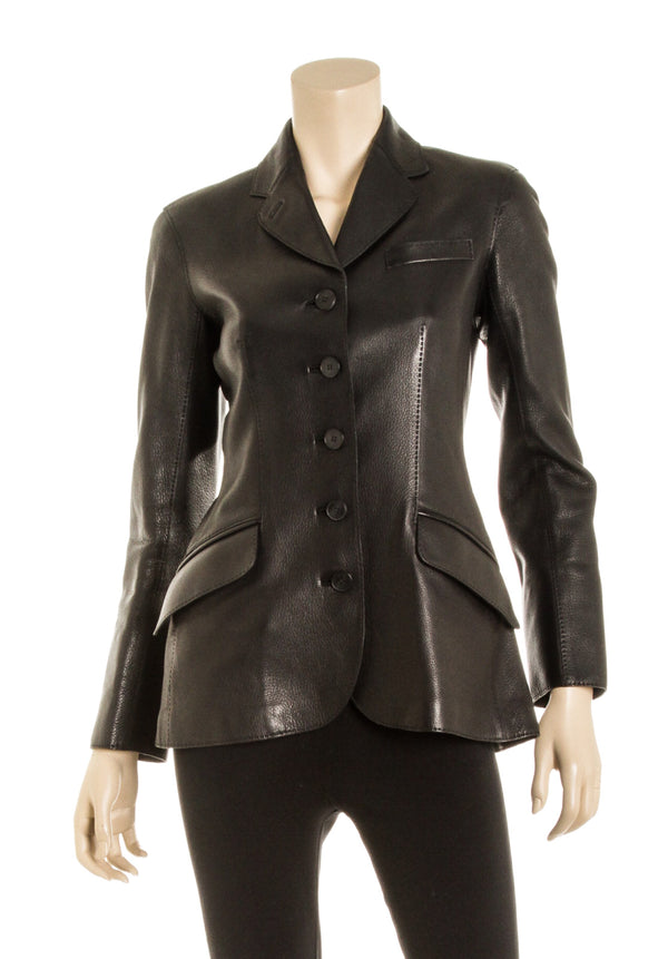 Hermes Black Leather Button-Down Jacket (Size 36)