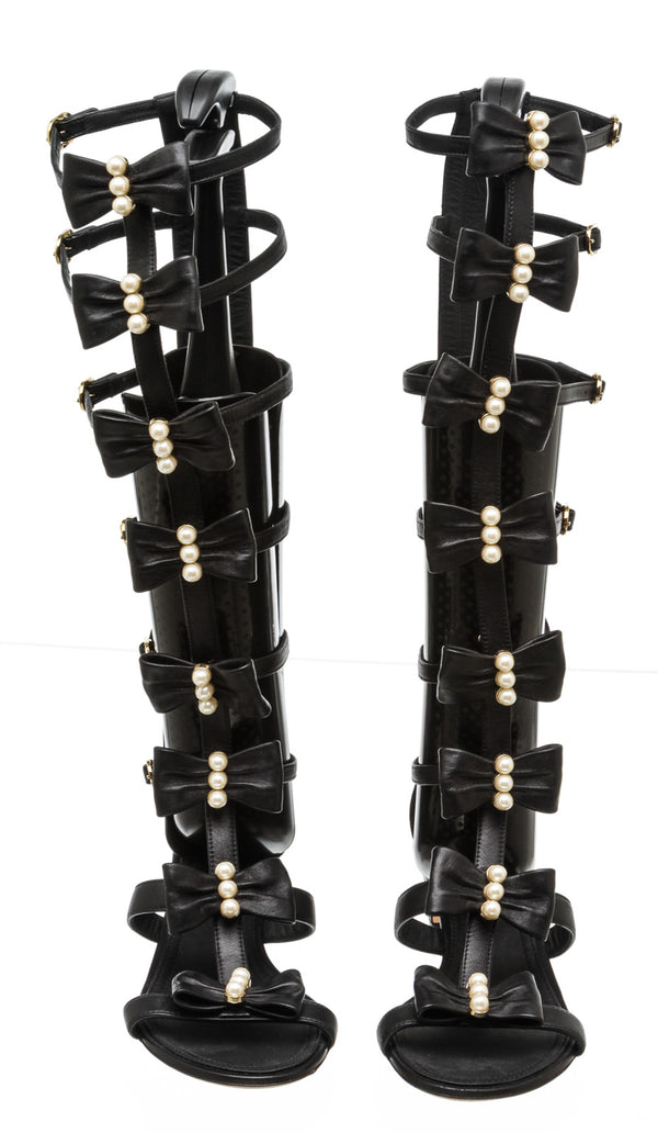 Chanel Bow Pearls Gladiator Sandals (36)