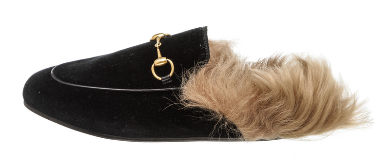 Gucci Velvet Fur Lined Mules (37.5)