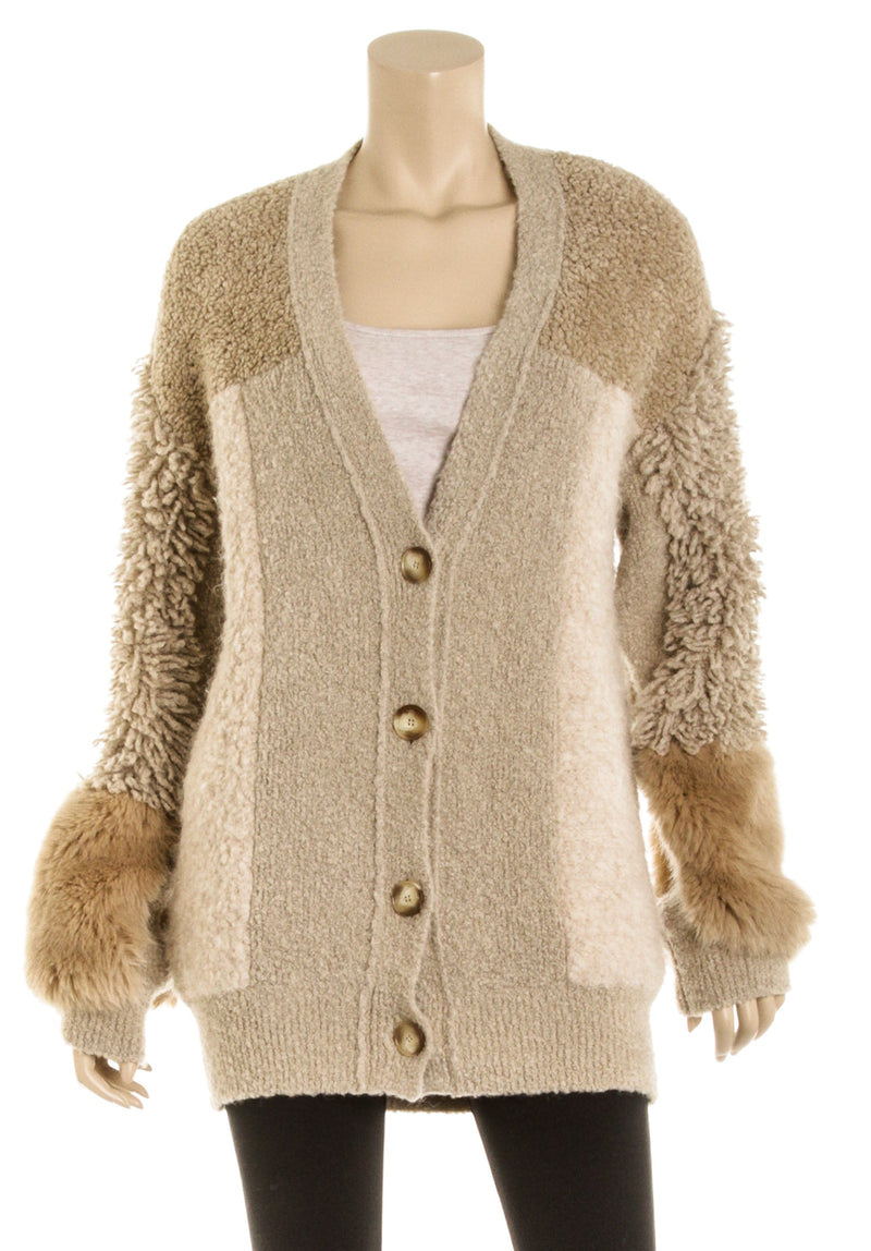 Stella McCartney Beige Patchwork Cardigan Sweater (Size 38)