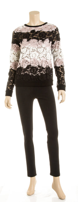 Valentino Pink White and Black Long Sleeve Lace Top (Size S)