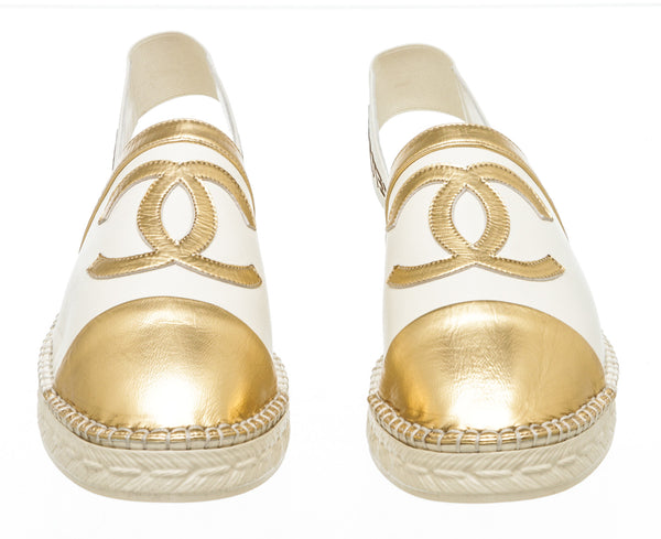 Chanel White Gold Leather CC Slingback Espadrilles (37)