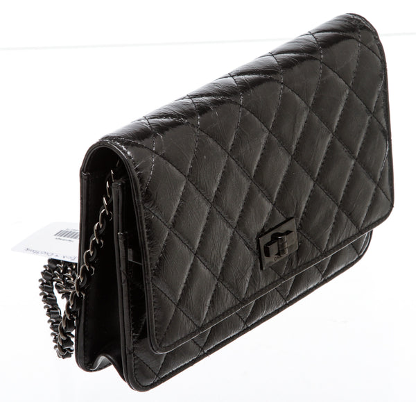 Chanel So Black Calfskin Leather Reissue Wallet On A Chain WOC