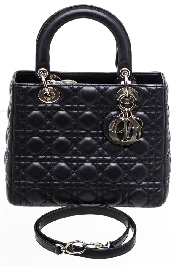 Christian Dior Navy Blue Leather Lady Dior Satchel