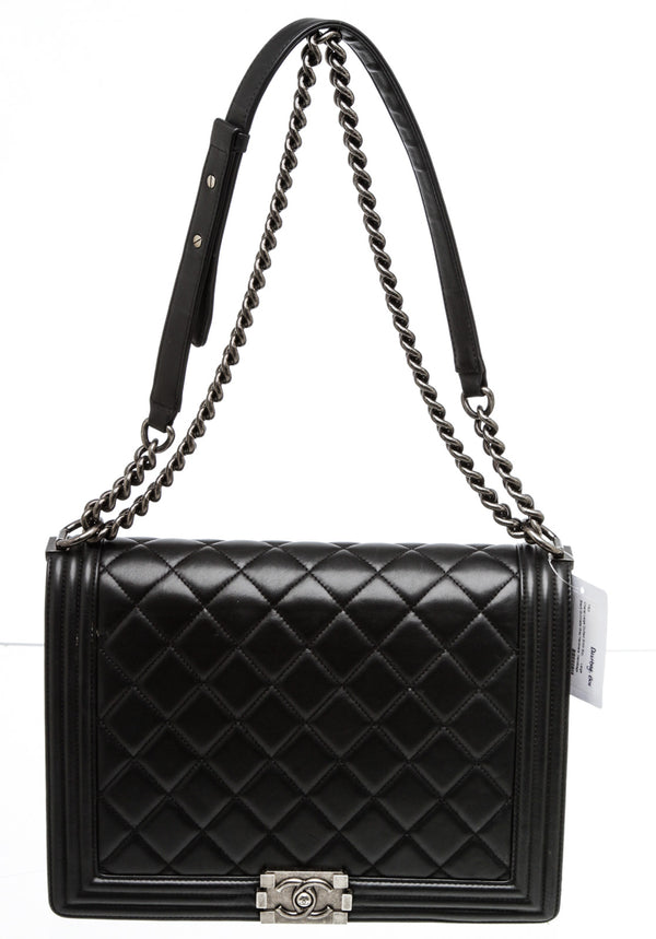 Chanel Black Lambskin Large Boy Bag