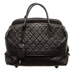Chanel Black Quilted Lambskin Rolling Luggage
