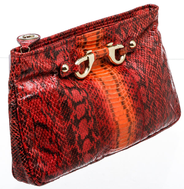 Jimmy Choo Red Snakeskin Zip Top Clutch