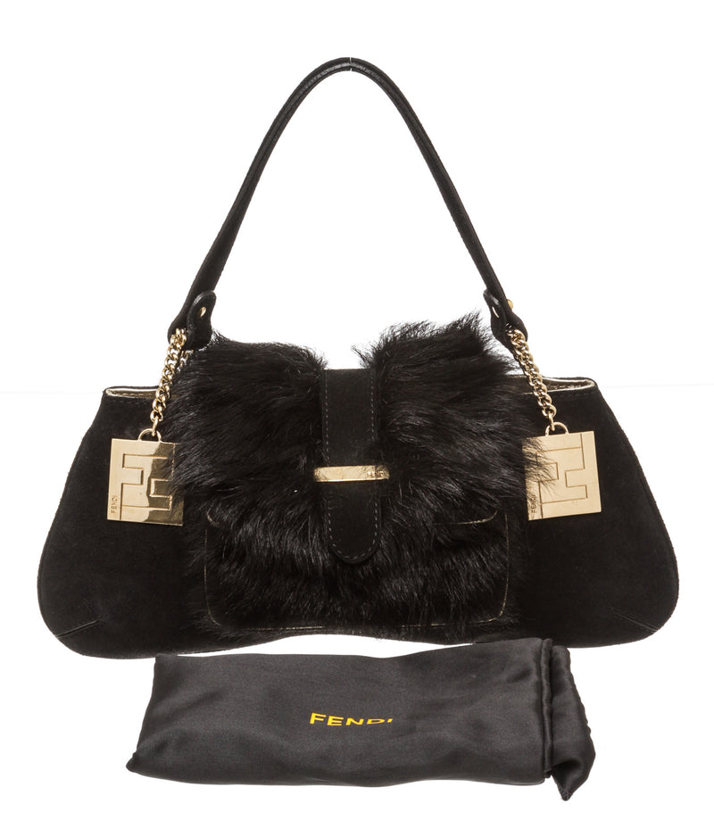 Fendi Black Suede and Fur Mini Shoulder Bag