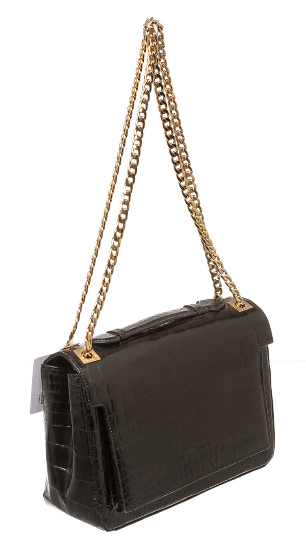 Analeena Black Crocodile 'Regular Chancellor' Shoulder Bag