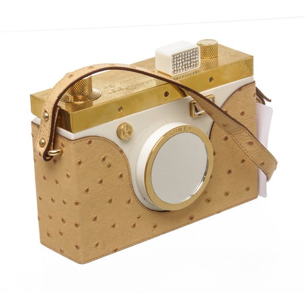 Charlotte Olympia Ostrich-Effect Nostalgia Camera Shoulder Bag