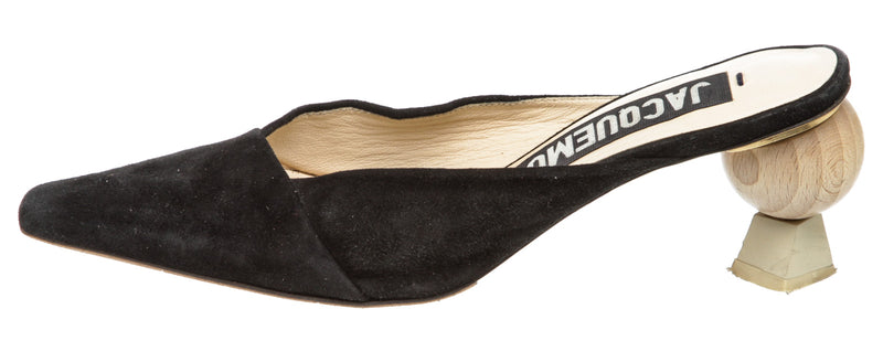 Jacquemus Black Suede Slip-On Mules (Size 37)