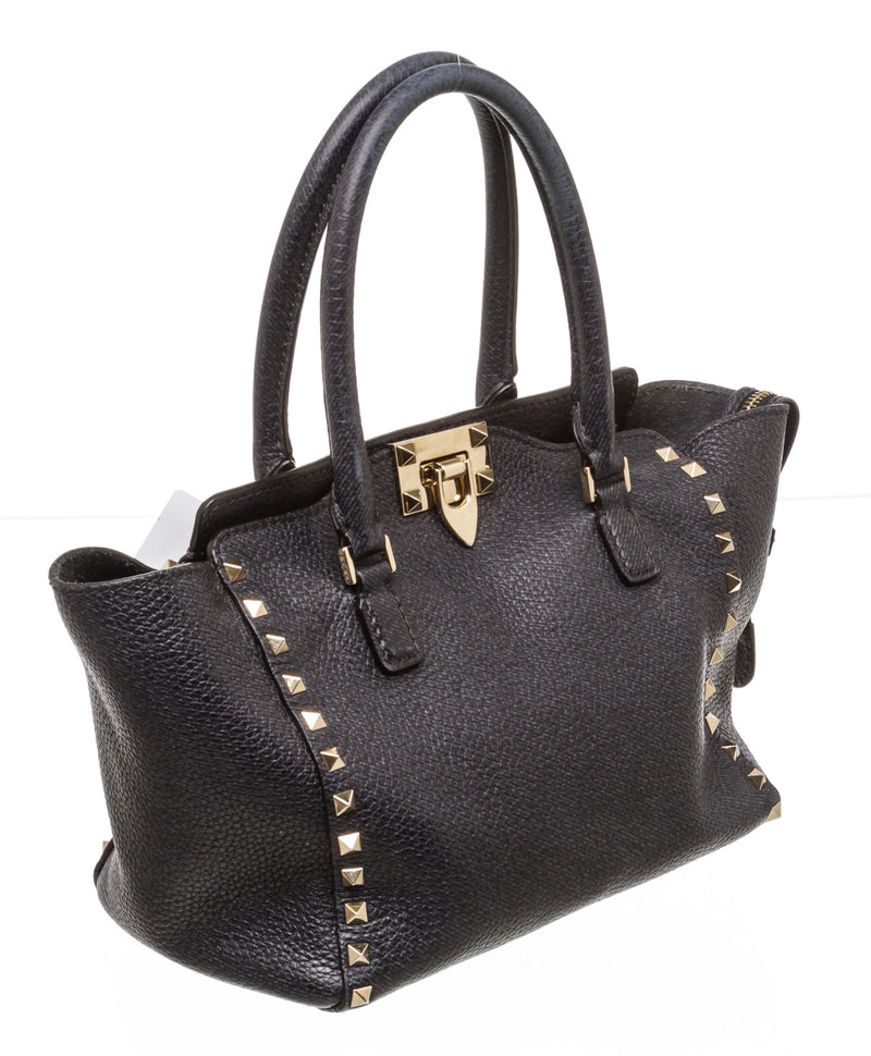 Valentino Navy Blue Pebbled Leather Rockstud Satchel