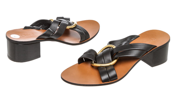 Chloe Black Leather Rony Sandals (Size 38)
