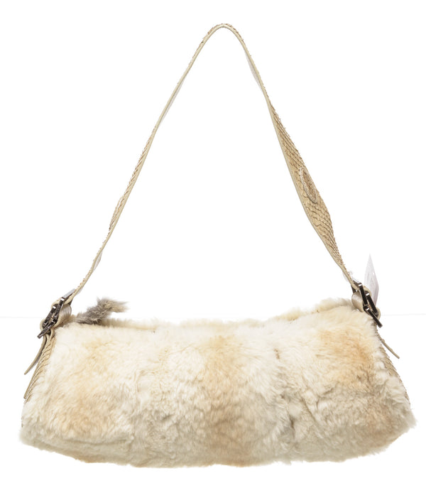 Tod's Cream Fur and Snakeskin Barrel Shoulder Bag