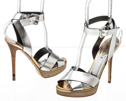 Fendi Metallic Silver and Bronze Leather  Strappy Sandals (Size 38)