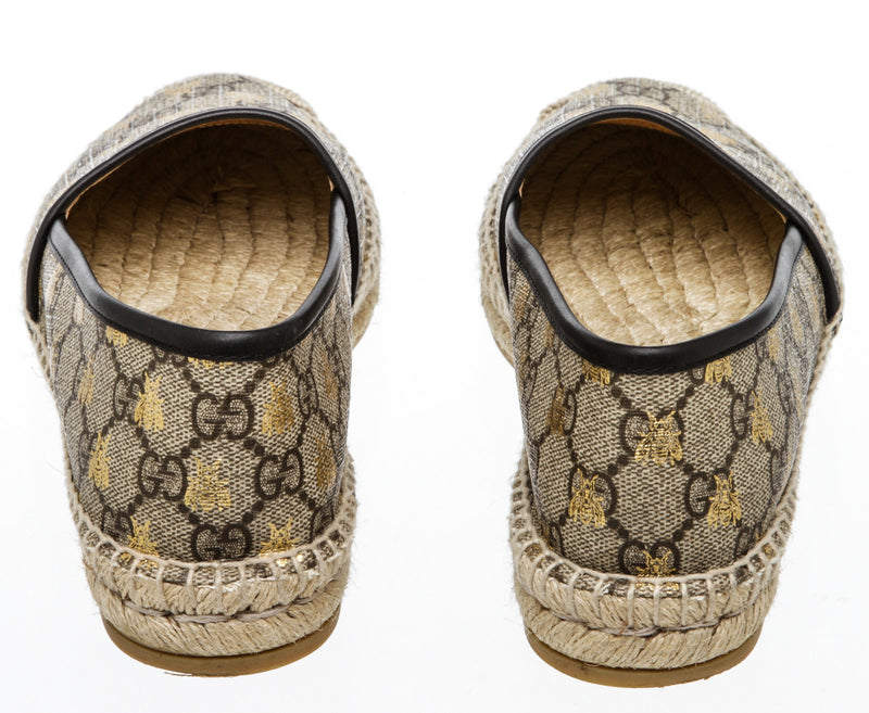 Gucci Beige Flat Pilar GG Espadrille With Bees (Size 38.5)