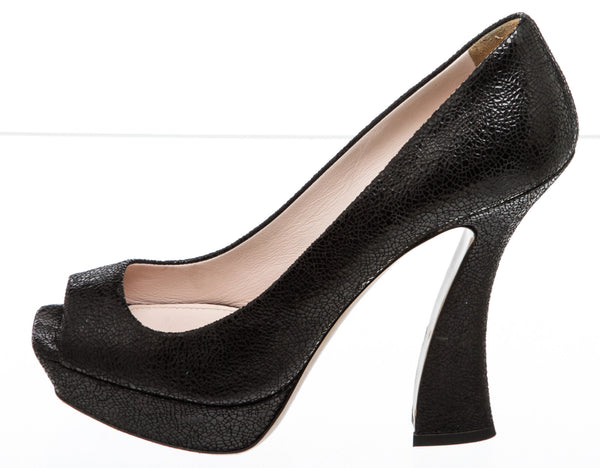 Miu Miu Black Crackled Leather Peep-Toe Platform Pump (Size 41)