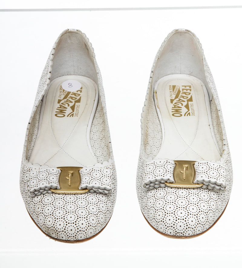 Salvatore Ferragamo White Perforated Leather Varina Flats (Size 8)