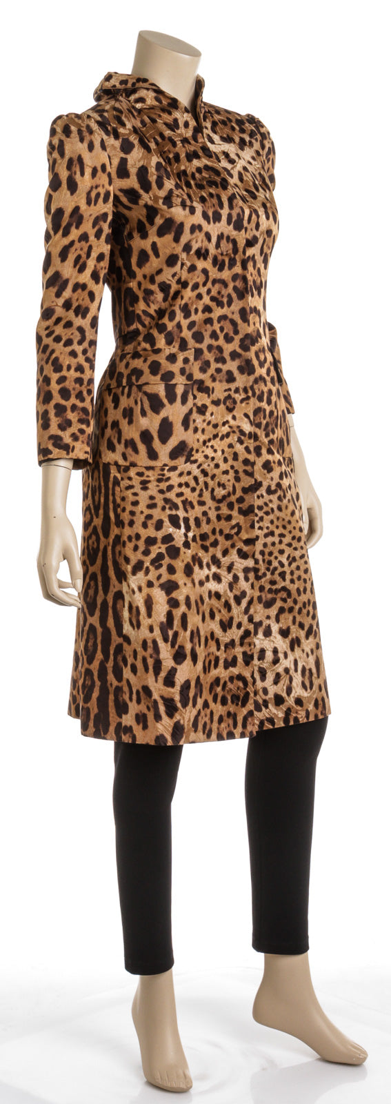 Dolce & Gabbana Brown Leopard Print Cotton Trench Coat (Size 38)