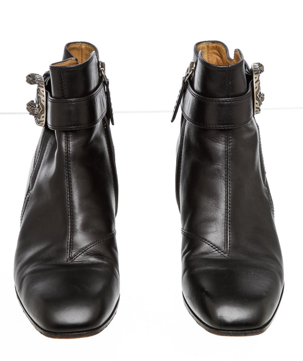 Gucci Black Leather Dionysus Ankle Boots (Size 38.5)