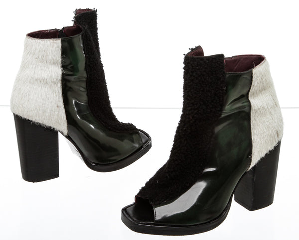 Opening Ceremony Shearling and Ponyhair 'Elise' Booties (Size 38.5)
