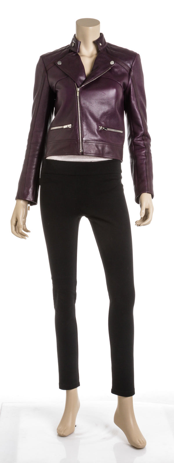 Balenciaga Purple Leather Moto Jacket (Size 36)