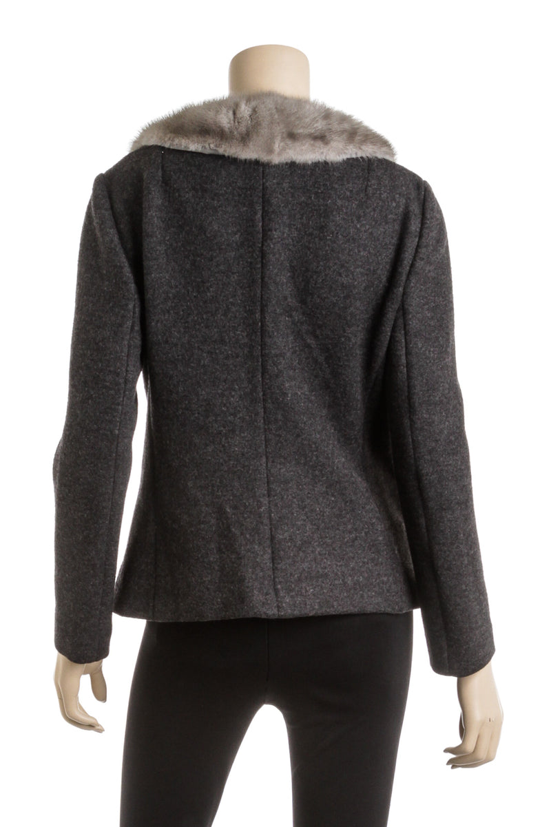 Dolce & Gabbana Gray Wool Jacket with Fur Collar (Size 46)