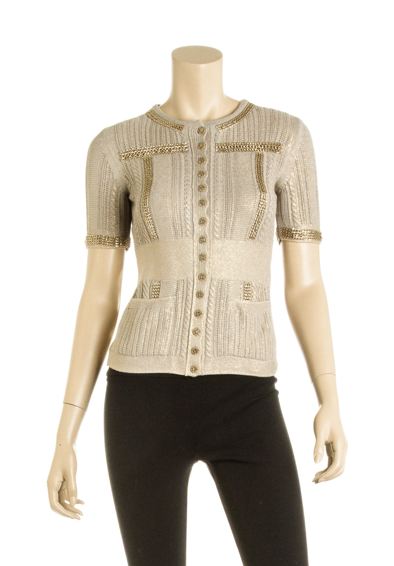 Chanel Taupe and Gold Knit Cardigan (Size 34)