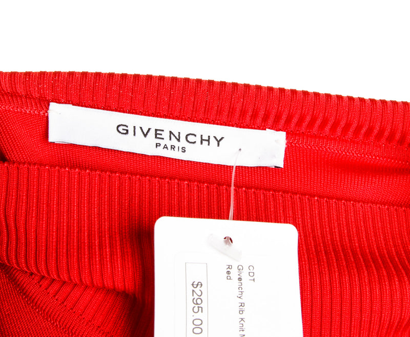 Givenchy Red Ribbed Mock Neck Top (Size S)