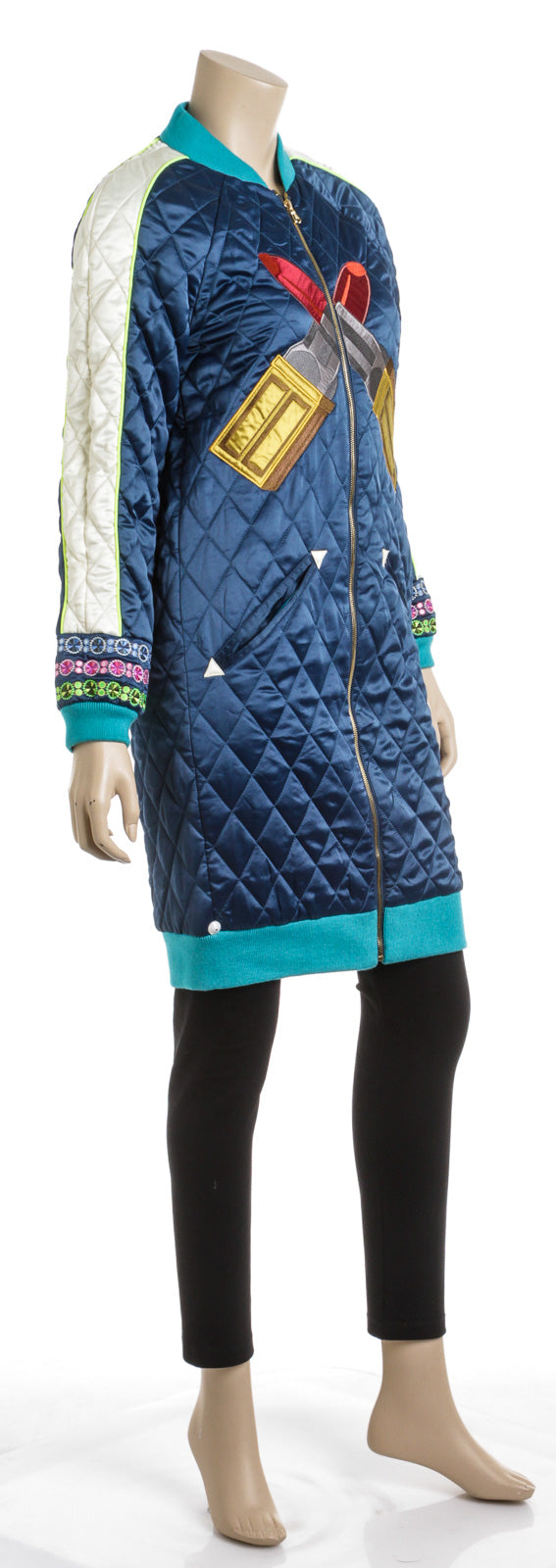House of Holland Long Sleeve Colorblock Quilted Lipstick Coat (Size 6)
