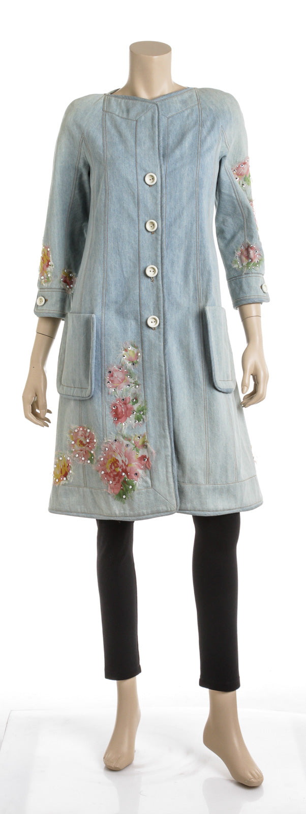 Christian Dior Washed Denim Floral Embellished Coat (Size 4)