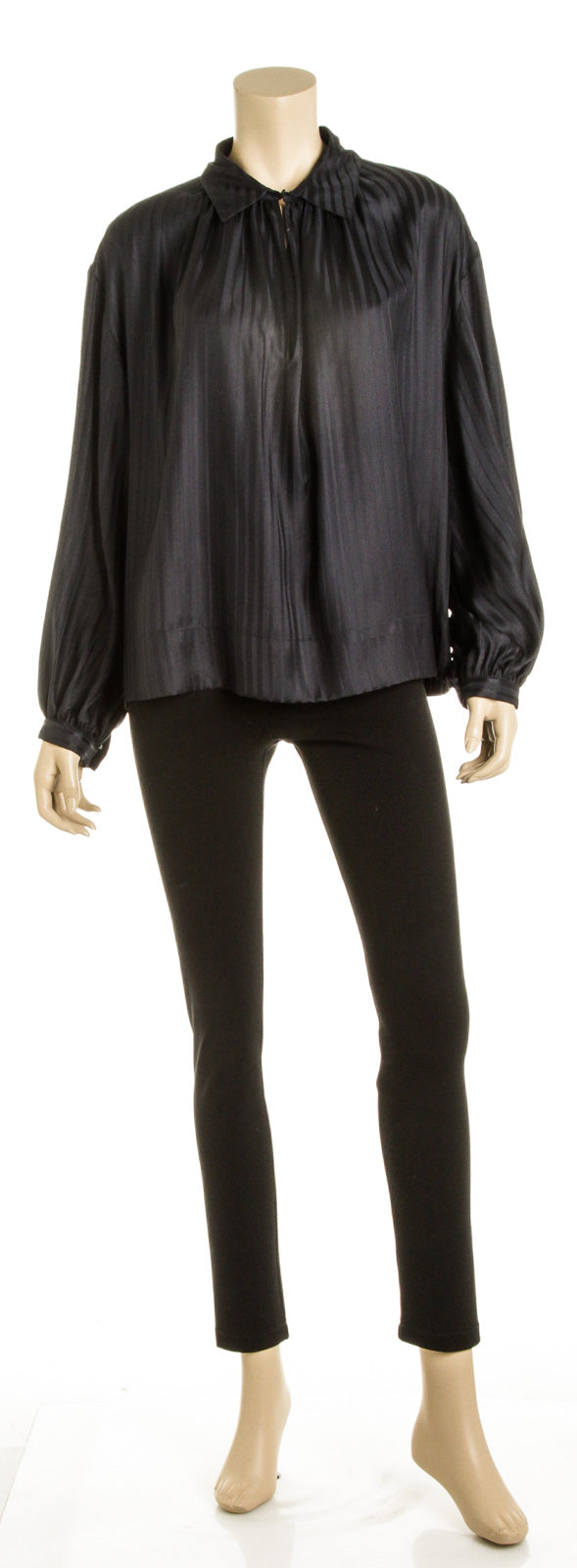 Stella McCartney Navy Silk Stripe Blouse (Size 46)