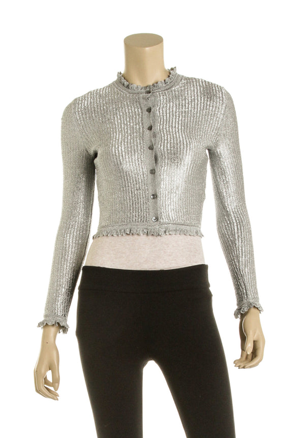 Alexander McQueen Silver Knit Cropped Cardigan NWT (Size XS)