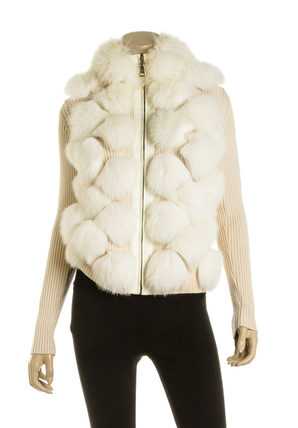 Prada Cream and White Fox Fur and Wool Knit Jacket (Size 42)