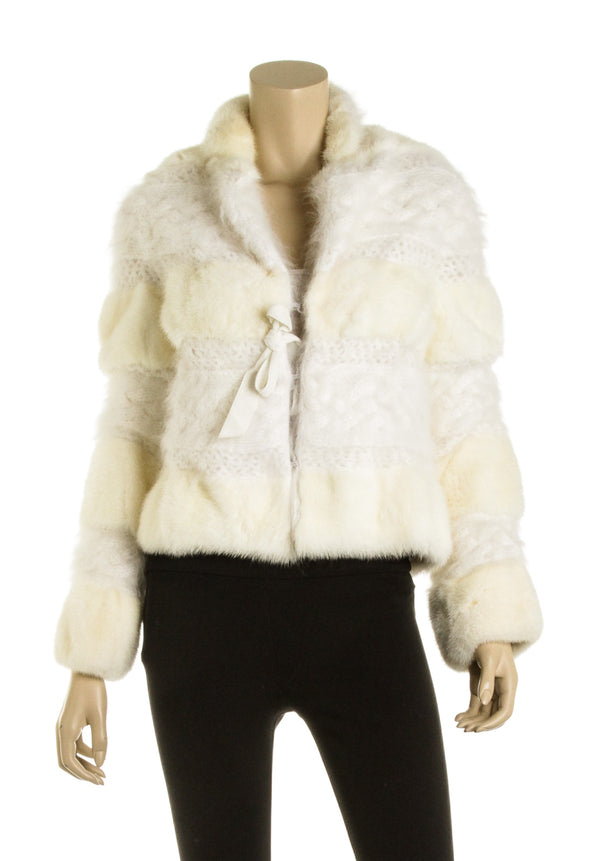 Christian Dior Cream Mink Fur Knit Jacket (Size S)