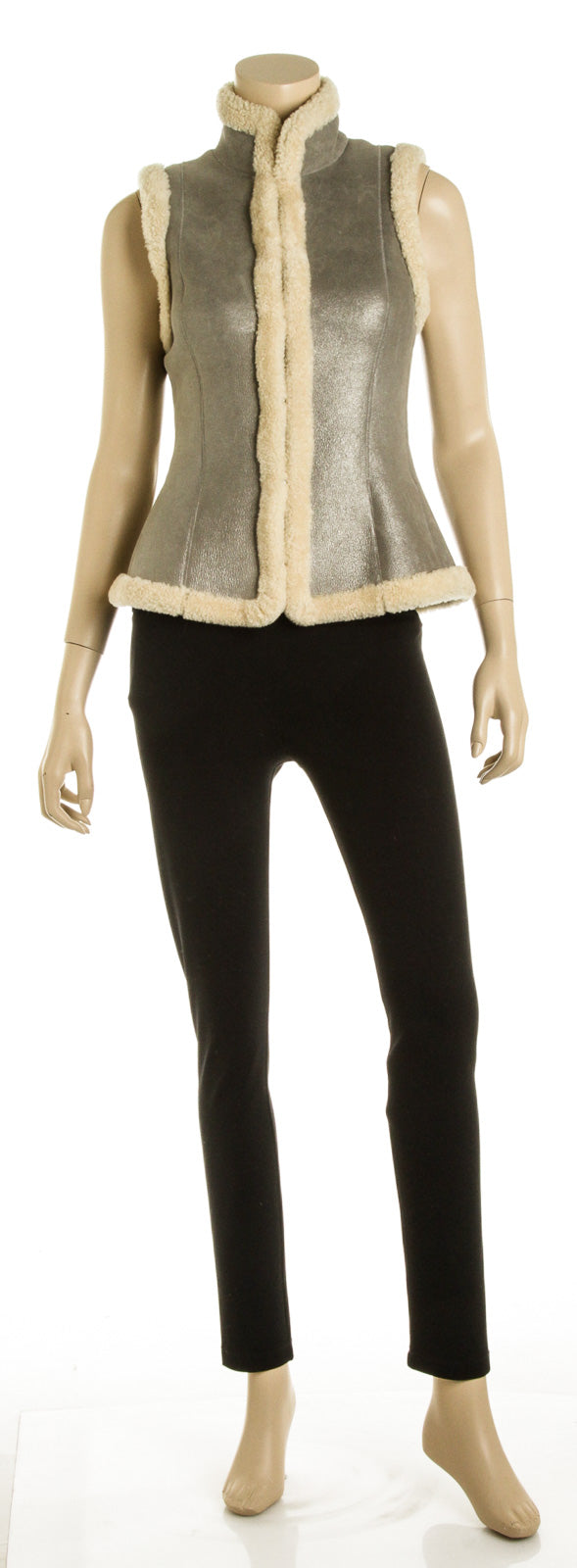 Ralph Lauren Gray and Beige Lamb Shearling Vest (Size S)