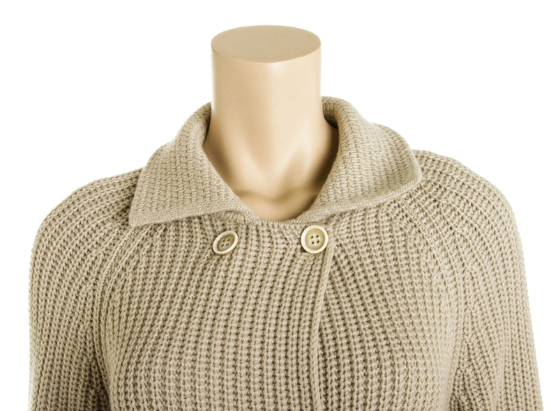 Loro Piana Beige Cashmere Knit Double Breasted Coat (Size 42)