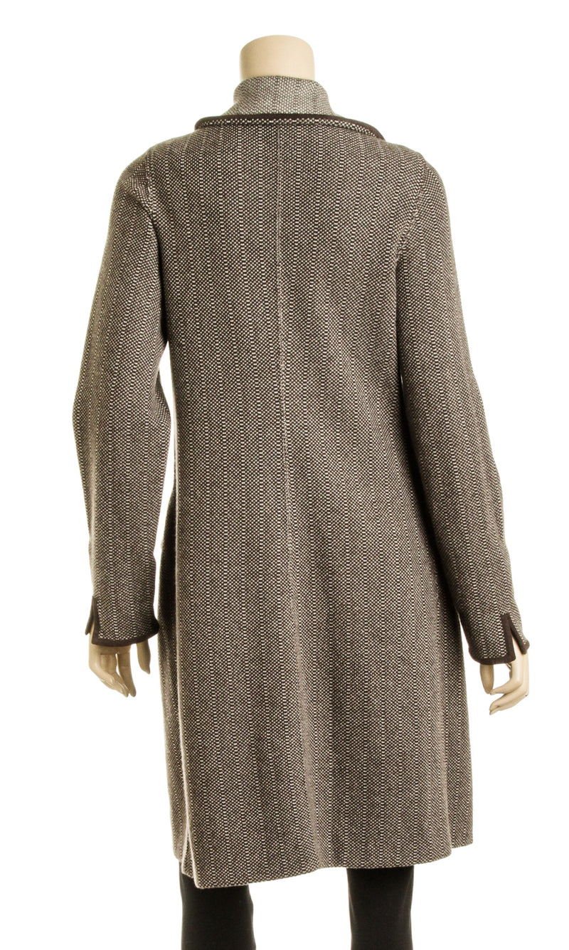 Loro Piana Brown and Beige Cashmere Knit Wrap Coat (Size 44)